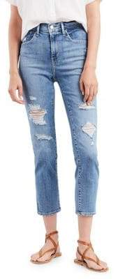 Levi's 724 Straight Crop Distressed Jeans
