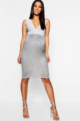 boohoo Maternity Sparkle Over The Bump Midi Skirt