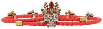 Alexander McQueen Red King Skull Friendship Bracelet