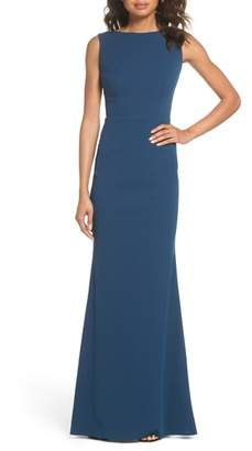 Katie May Vionnet Drape Back Crepe Gown