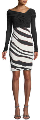 Roberto Cavalli Bateau-Neck Long-Sleeve Ruched-Top Zebra-Print Bottom Dress