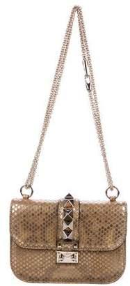 Valentino Snakeskin Lock Flap Shoulder Bag