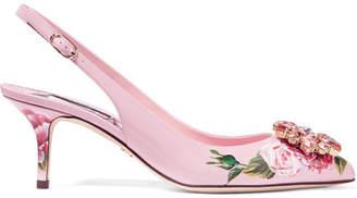 Dolce & Gabbana Crystal-embellished Floral-print Patent-leather Slingback Pumps - Pink