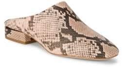 Pour La Victoire Sebina Leather Snake-Print Mules