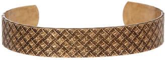 Linked Up Men's Oxidized Brass Basketweave Open Cuff Bracelet