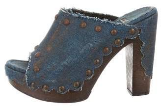 Stuart Weitzman Denim Slide Sandals