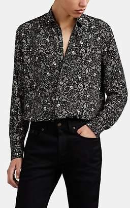 Saint Laurent Men's Graphic Silk Crêpe De Chine Shirt - Black