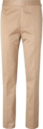 BEIGE Kingsman - Eggsy's Slim-Fit Herringbone Cotton Suit Trousers