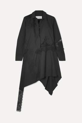 Marques Almeida Marques' Almeida - Asymmetric Lace-paneled Cotton-poplin Mini Dress - Black