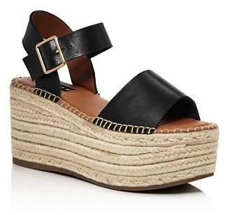 Aqua Women's Rowan Leather Espadrille Platform Sandals - 100% Exclusive
