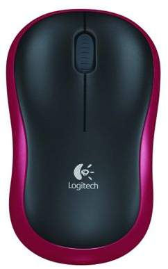 Logitech M185 Mouse - Optical - Wireless - 3 Button(S) - Red, Black