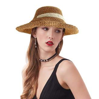 Exablast Hat Female Summer Foldable Woven Lace Bow Straw Hat Outdoor Sun Protection Sun Hat Sun Beach Hat