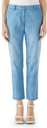 Gucci Stone-Bleached Straight-Leg Denim Chino Pants