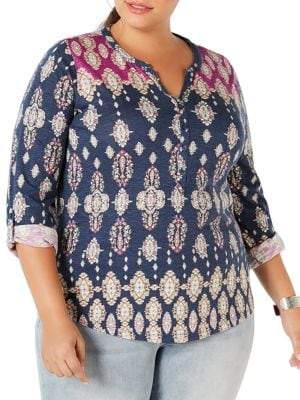 Style&Co. Style & Co. Plus Printed Roll-Tab Top
