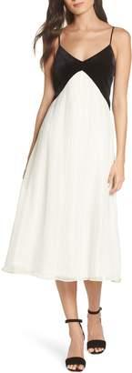 AVEC LES FILLES Velvet Bodice Pleated Dress