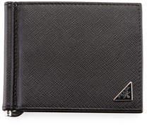 2601537dc225 Prada Saffiano Triangolo Wallet with Money Clip