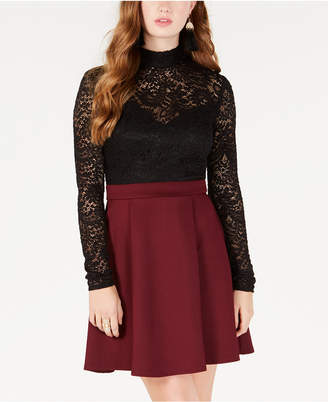 B. Darlin Juniors' Lace-Top Fit & Flare Dress