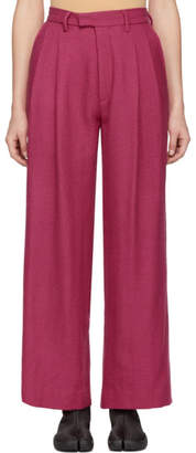 Eckhaus Latta Pink Pleated Wool Trousers