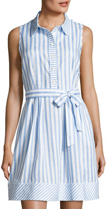 Neiman Marcus Striped Sleeveless Linen Dress, Blue/White $99 thestylecure.com