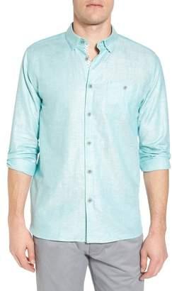 Ted Baker Linlins Herringbone Cotton & Linen Sport Shirt