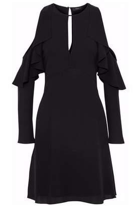 Theory Cold-Shoulder Ruffled Silk Crepe De Chine Mini Dress