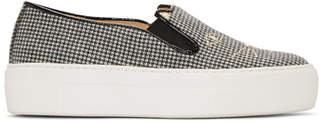 Charlotte Olympia Black and White Wool Cool Cats Slip-On Sneakers