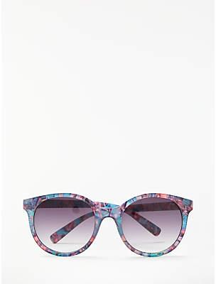 John Lewis & Partners Floral Preppy Round Sunglasses, Multi/Purple Gradient