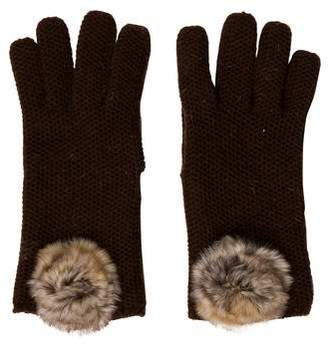 Loro Piana Knit Fur-Trimmed Gloves
