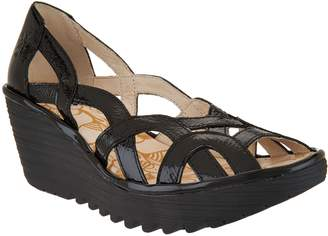 Fly London Leather Slip-on Wedge Sandals - Yadi