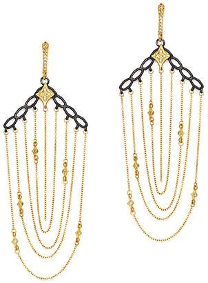 Armenta Blackened Sterling Silver & 18K Yellow Gold Old World Crivelli Champagne Diamond Chain Chandelier Earrings