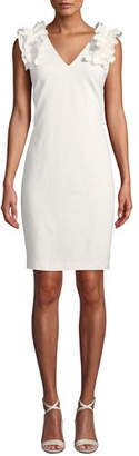 Trina Turk At Last V-Neck Sleeveless Tropical Ponte Dress w/ Ruffle Detail