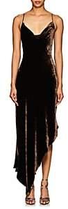 Juan Carlos Obando Women's Velvet Cowlneck Asymmetric Dress-Brown