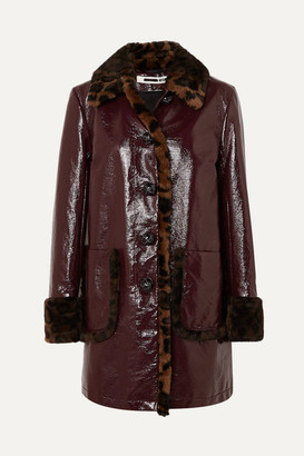 McQ Leopard-print Faux Fur-trimmed Coated-cotton Coat - Burgundy