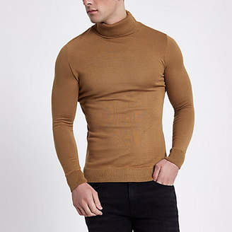 River Island Camel slim fit roll neck sweater