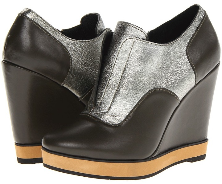 Nanette Lepore Two-Timer Wedge (Black/Silver) - Footwear