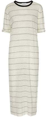 IRO Striped Slub Linen-Jersey Midi Dress