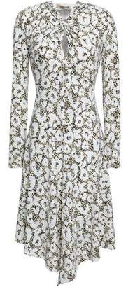 Roberto Cavalli Knotted Cutout Printed Jersey Dress