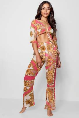 boohoo Scarf Print Tie Front Top & Trouser Beach Co-ord