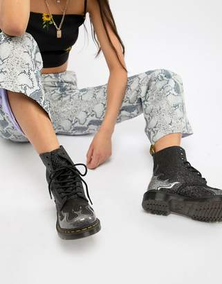 Dr. Martens 1460 Pascal Black Glitter Flame Flat Ankle Boots