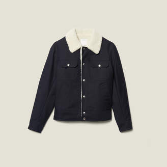 Sandro Jacket With Faux Shearling Lining