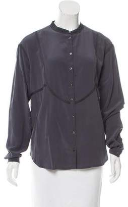 Closed Silk Button-Up Top