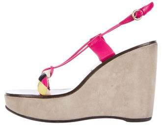 Miu Miu Miu Miu Leather & Suede Wedges