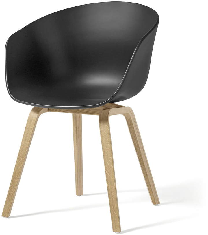 Hay - About A Chair AAC 22, Holz-Vierbeingestell (Eiche geseift) / soft black