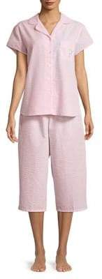 Miss Elaine Two-Piece Textured Pajama Set