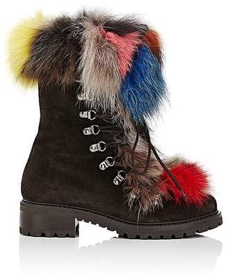 Barneys New York Women's Fur-Trimmed Nubuck Ankle Boots
