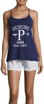 U.S. Polo Assn. Womens-Juniors Shorts Pajama Set Short Sleeve
