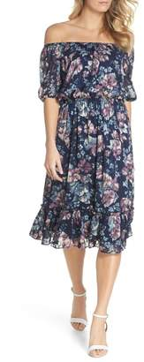 Adrianna Papell Floral Burnout Off the Shoulder Blouson Dress (Plus Size)