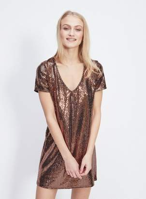 Miss Selfridge Bronze sequin t-shirt dress