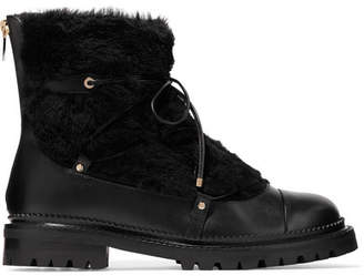 Jimmy Choo Darcie Shearling And Leather Ankle Boots - Black