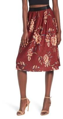 Women's Leith High Waist Pleated Midi Skirt $59 thestylecure.com